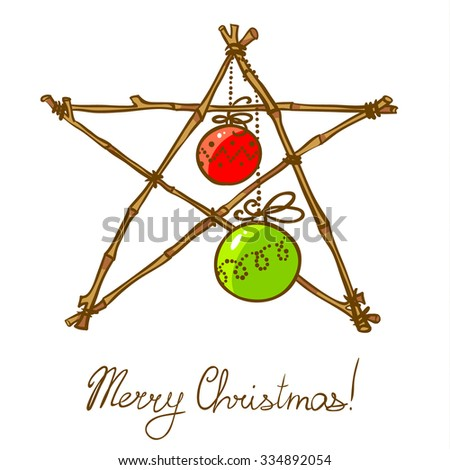 Christmas doodle star decoration  - stock vector