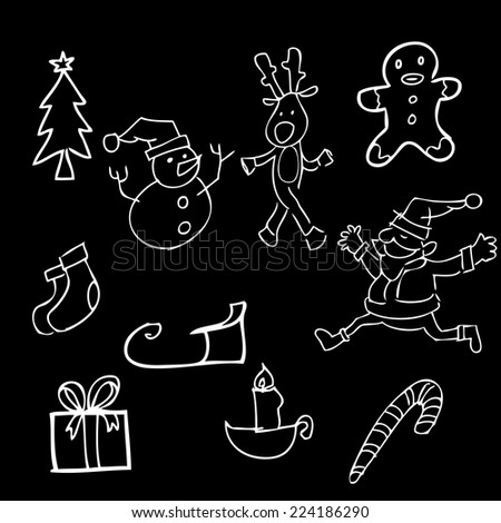 Christmas doodles blackboard cartoon vector