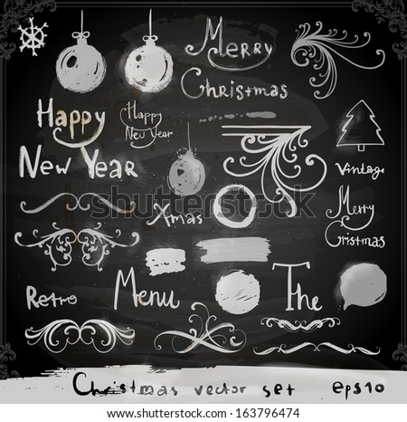 Christmas doodles collection | Set of calligraphic and typographic elements, frames, vintage labels. Ribbons, stickers, birds, tree branches, balls. Chalkboard design. Chalk texture. - stock vector