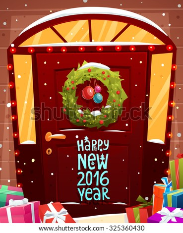 Christmas Door Decoration. Xmas Wreath with Balls and Lights. Holiday Greetings. Snowflakes and Snowdrifts. Holiday Vector Illustration for Christmas Banners, Placards and Posters. - stock vector