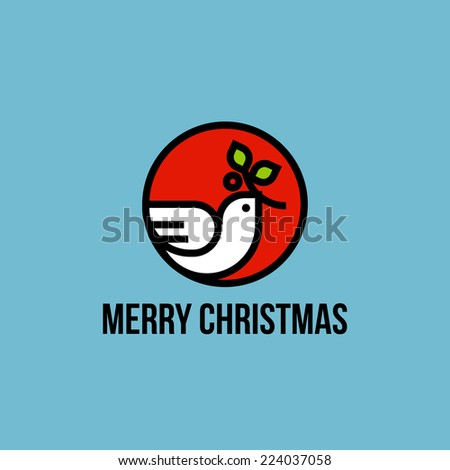 Christmas dove of peace with holly branch flat line icon - stock vector