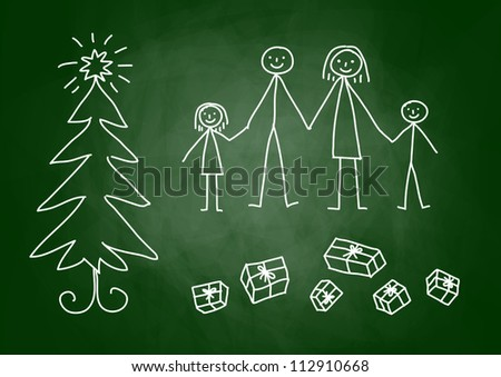 Christmas drawing on blackboard - stock vector