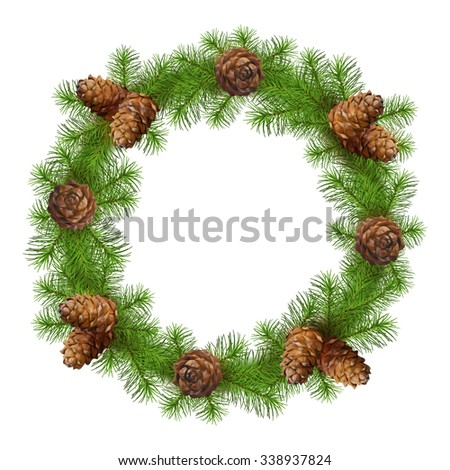 Christmas drawing tree branch wreath with cones on white background - stock vector
