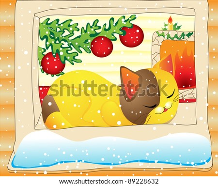 Christmas dream. Cat sleeps on window-sill in warm home - stock vector