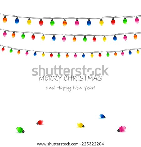 Christmas electric garland on white background, illustration. - stock vector