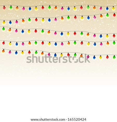 Christmas electric garland with the falling snow, illustration. - stock vector