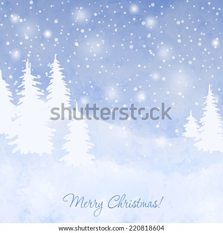 Christmas elegant vector  card with snow and fir trees