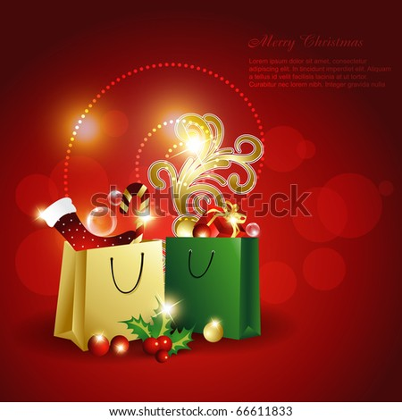 christmas element on gift bag. Beautiful vector illustration