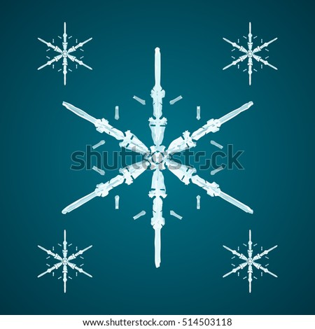 Christmas element: opaque crystal snowflakes on a dark turquoise background.