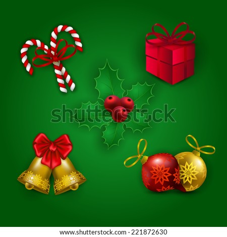 Christmas elements for design - realistic balls, baubles, bells, lollipops, holly berries, gift for greeting card, invitation, congratulation. Vector illustration EPS10.