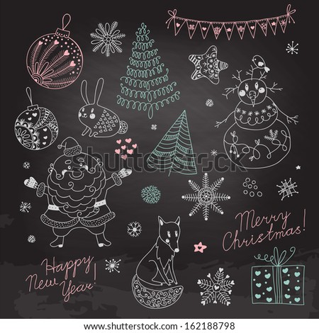 Christmas elements for design. Santa Claus, snowman, Christmas tree, snowflakes and stars. Stylized drawing with chalk on the blackboard.