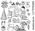 Christmas elements for holiday design, set of black cartoon silhouettes on white background. Vector - stock vector