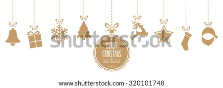 christmas elements hanging gold isolated background - stock vector