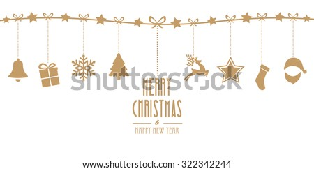 christmas elements hanging line gold isolated background - stock vector