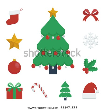 Christmas Elements Icon Vector Illustrations Set Including A Decorated Tree And Other Colorful Related