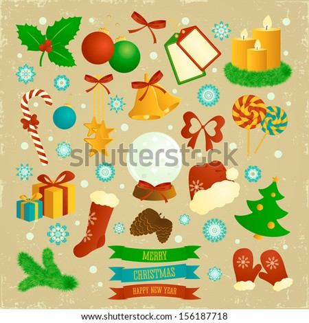 Christmas elements on the beige background. Retro style. Soft colors.