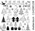 Christmas elements, set of black cartoon silhouettes on white background for holiday design. Vector - stock photo