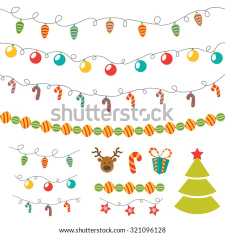 Christmas elements vector set - stock vector