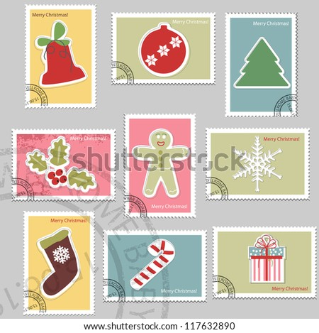 Christmas elements. Vector stamp collection. - stock vector