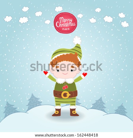Christmas elf card - stock vector