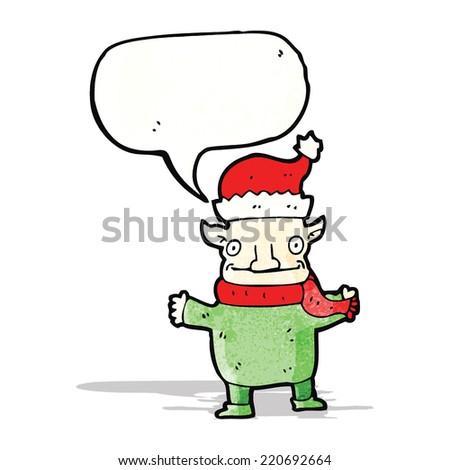 christmas elf cartoon character - stock vector
