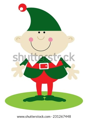 Christmas elf dressed in green - stock vector