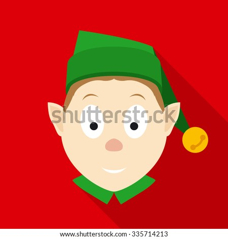Christmas Elf Face in Green Hat. Flat Style with Long Shadows on Red Background