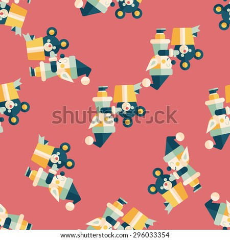 Christmas elf flat icon,eps10 seamless pattern background - stock vector