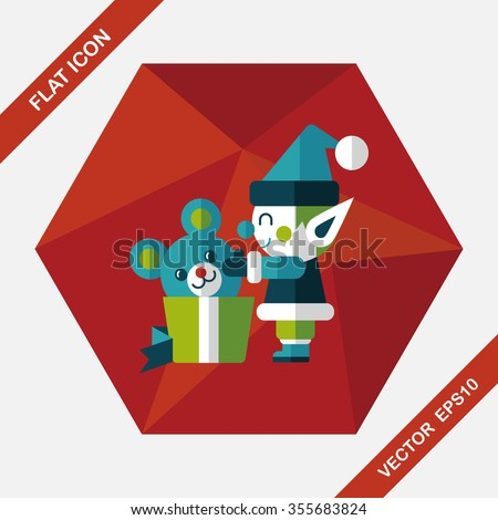 Christmas elf flat icon with long shadow,eps10 - stock vector