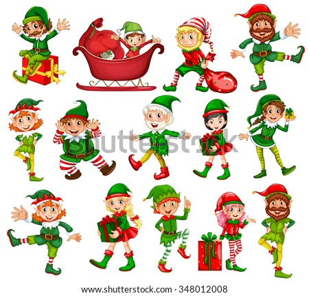 Christmas elf in different positions illustration - stock vector