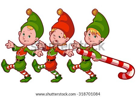 Christmas elves with candy. Vector clip-art illustration on a white background