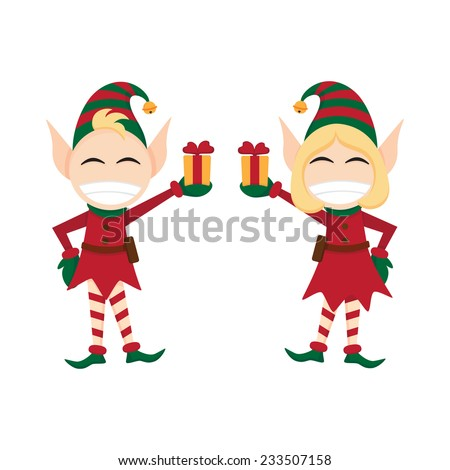 Christmas elves with presents in hand. - stock vector