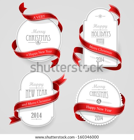 Christmas emblems - stock vector