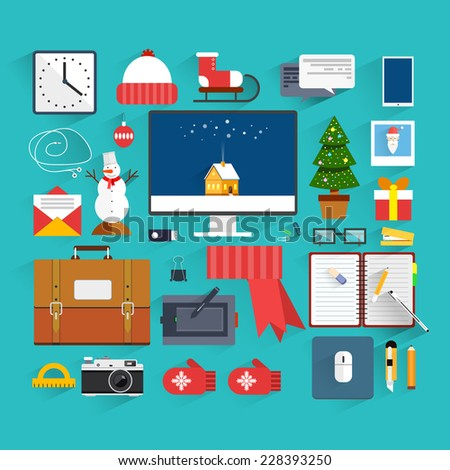 Christmas eve creative workplace concept. Christmas and New Year office decoration. Santa claus workstation flat design. Winter holidays. Business work elements, office things,equipment, objects. - stock vector