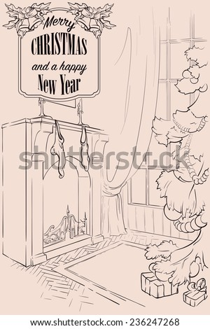 Christmas eve room interior. A simple sketch style design. EPS8 vector illustration. - stock vector
