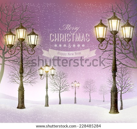 Christmas evening winter landscape with vintage lampposts. Vector. - stock vector