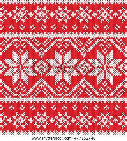 Festive Sweater Design Seamless Knitted Pattern Stock Vector ...