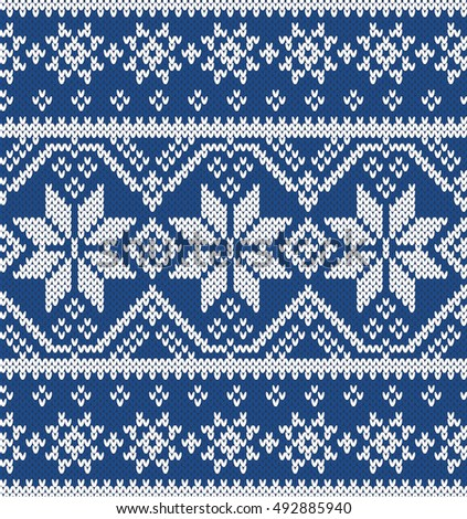 Christmas Fairisle Sweater Design Seamless Knitting Stock Vector