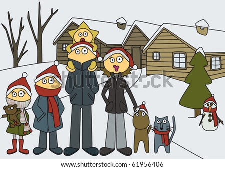 Christmas; family with christmas hats in front of their house, in a snow landscape, about to take a picture. - stock vector