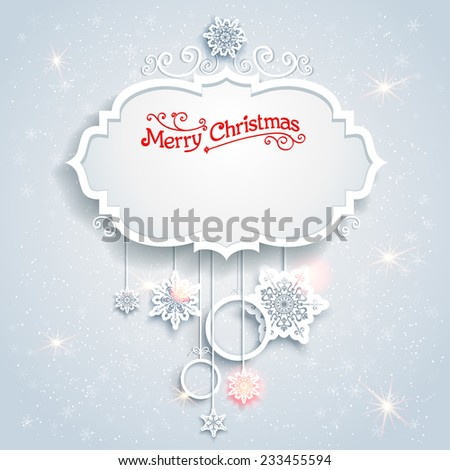 Christmas festive card with beautiful snowflakes. Place for text. - stock vector