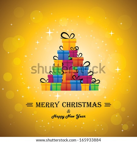 christmas festive celebrations with gift boxes as xmas tree - vector. The concept graphic can represent festivals like x-mas, new year, birthday & wedding events other personal events - stock vector