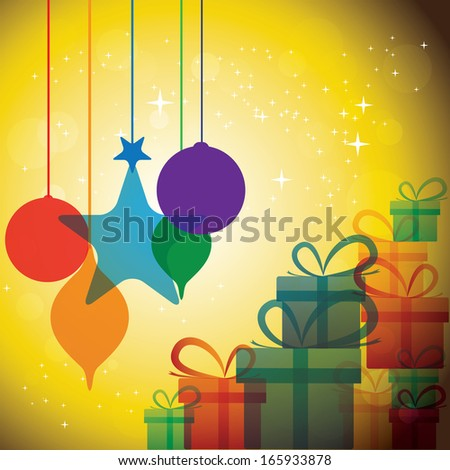 christmas festive celebrations with gift boxes & baubles - vector. The concept graphic can represent festivals like x-mas or xmas, new year, birthday & wedding events, etc - stock vector