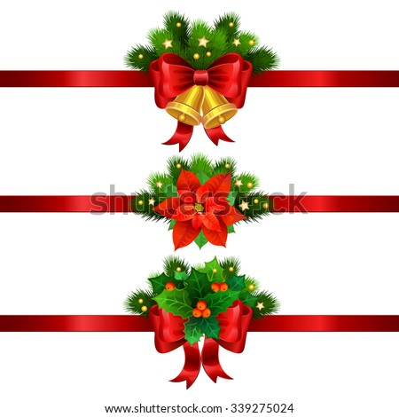 Christmas festive decoration from christmas tree branches, poinsettia, holly and gold bells with red ribbon