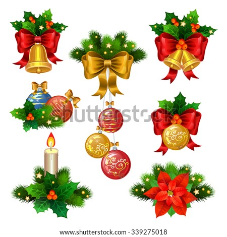 Christmas festive ornaments icons set. Decoration from christmas tree branches, christmas star, holly, balls,  and gold bells with red ribbon - stock vector