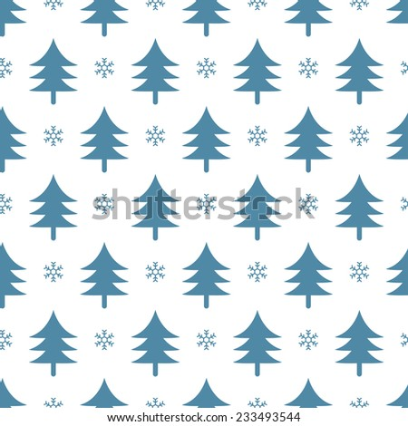 christmas festive seamless background with trees and snowflakes - stock vector