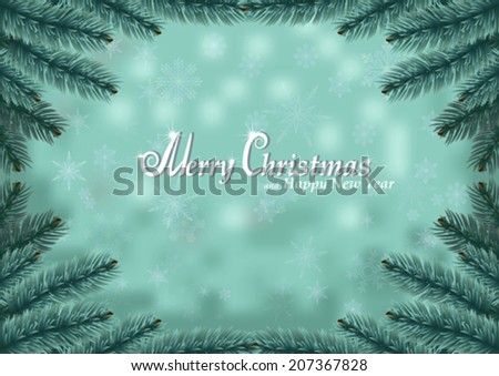 Christmas fir frame snow background. Holiday snowy background decorated with spruce branches. Vector. - stock vector