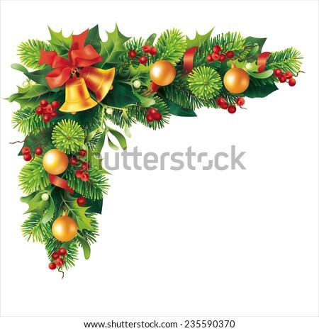 Christmas fir garland on white. Vector eps 10. - stock vector