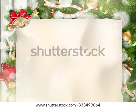 Christmas Fir Tree Border over Vintage background. EPS 10 vector file included - stock vector