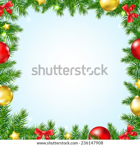 Christmas Fir Tree Border With Stars With Gradient Mesh, Vector Illustration