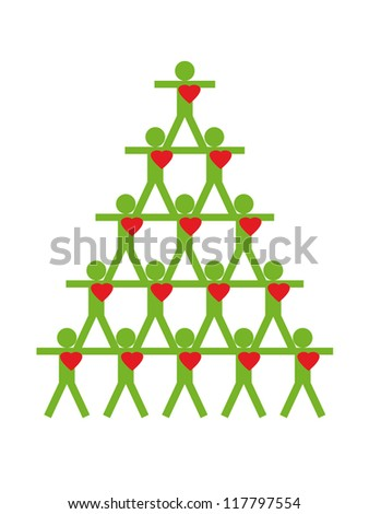 Christmas fir-tree from people, vector illustration